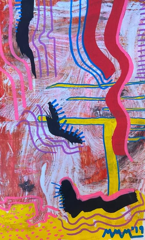 """""""Lost Lashes in Super Soda Space"""" Monotype Print 11 X 7.5 Inches"""