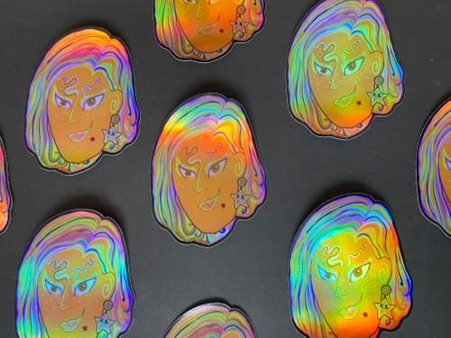 GoodbyeSummerSkies Mothie Holographic Sticker 4X4 inches