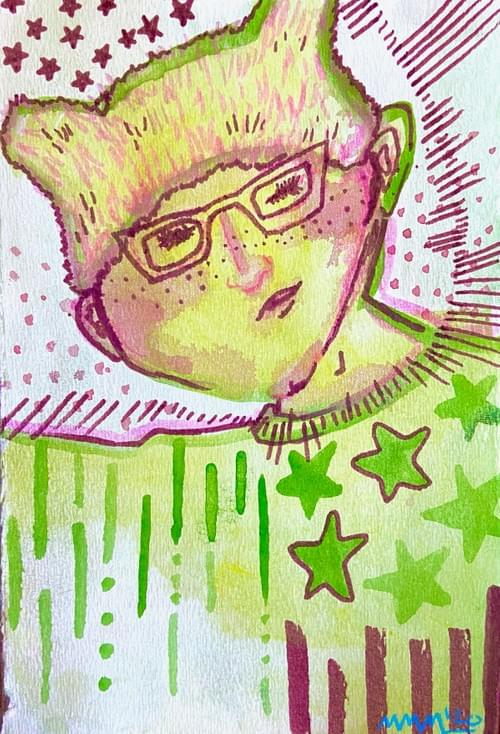 """""""Tuesday Day Green T Portrait"""" 6 X 9 inches"""