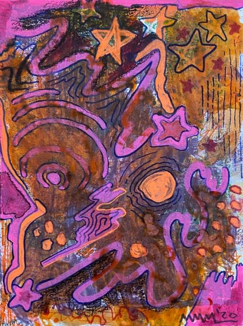 """""""Soda Soaked Comet"""" Monotype Print 6 X 4.5 Inches"""