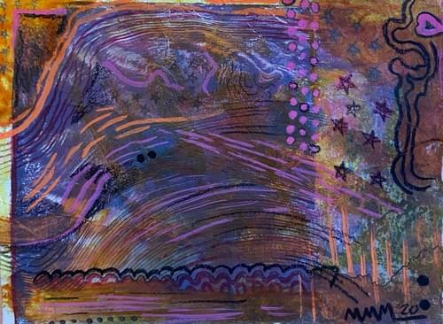 """""""Soda Soaked Landscape"""" Monotype Print 6 X 4.5 Inches"""