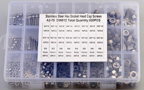 520 Pcs M3 M4 M5 M6 Din 912 Hexagon Socket Bolt Washer Nut Stainless Steel 304 Set