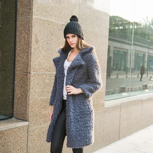 Autumn and winter new woolen coat women 2020 new lapel furry mid-length woolen coat