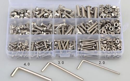 520 Pcs M3 M4 M5 Stainless Steel 304 Button Head Hexagon Socket Bolt Nut And Flat Washer Set
