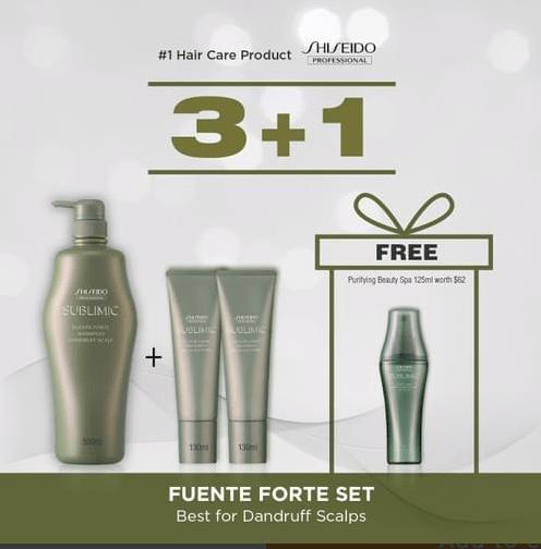 SHISEIDO PROFESSIONAL Fuente Forte 500ml Shampoo + 2x130ml Treatment BUNDLE (Best for Dandruff Scalp