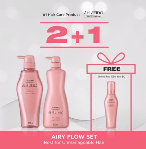 SHISEIDO PROFESSIONAL Airy Flow 500ml Shampoo + 500ml Treatment BUNDLE (Best for Unmanageable Hair)