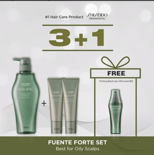 SHISEIDO PROFESSIONAL Fuente Forte 500ml Shampoo + 2x 130ml Treatment BUNDLE (Best for Oily Scalps)