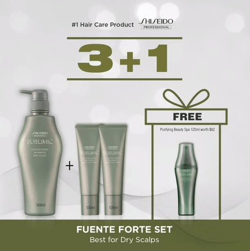SHISEIDO PROFESSIONAL Fuente Forte 500ml Shampoo + 2x 130ml Treatment BUNDLE (Best for Dry Scalps)