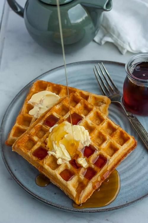 Half Waffle with Butter and Syrup
