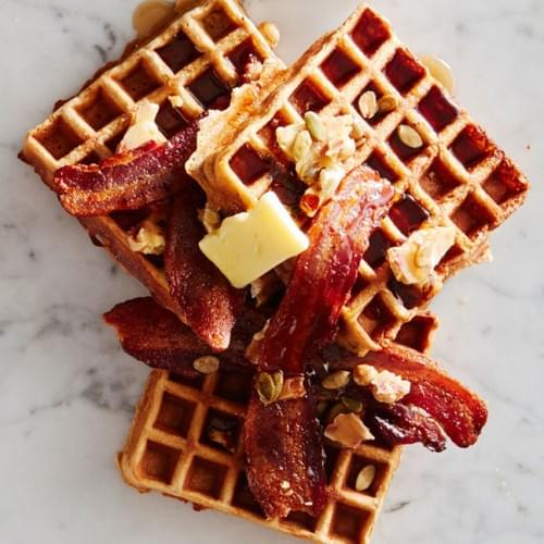Whole Waffle with Bacon or Sausage and Gravy or Fruit