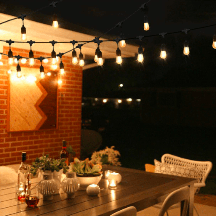 """HEAVY DUTY PATIO / BISTRO STRING LIGHT SET WITH 5"""" DROP - Bulbs Included"""