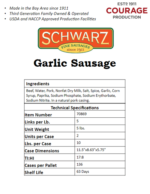 Schwarz Garlic Sausage
