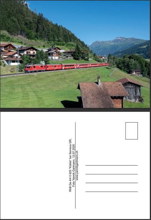 "Postkarte RhB Ge 4/4I I 625 ""Küblis"" bei Serneus"