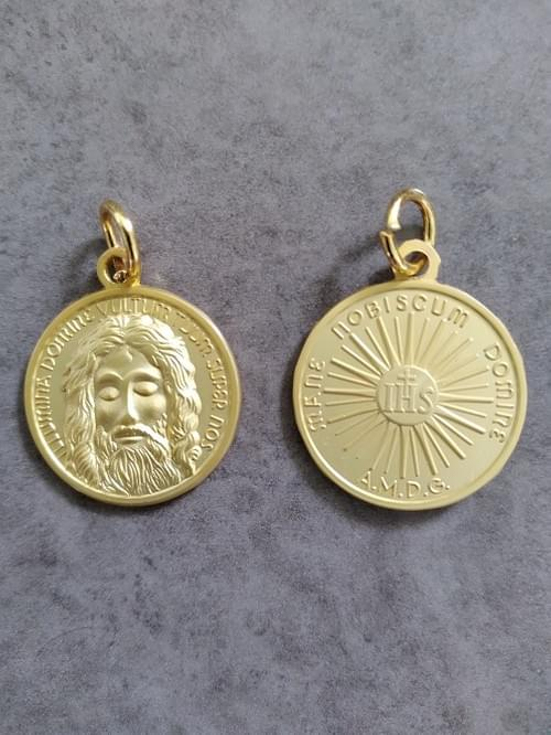 High Quality Holy Face of Jesus Medal, Matt Gold , 22mm