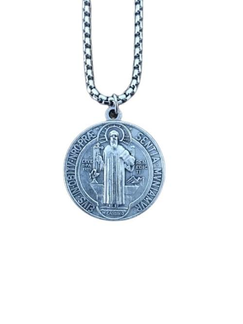 """Saint Benedict Medals 1"""", on a stainless steel round box chain"""