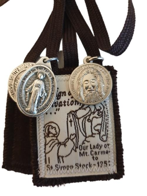 Sturdy Brown Scapular plus 3 Medals