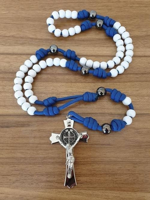 White/blue Paracord Rosary, Silver Crucifix