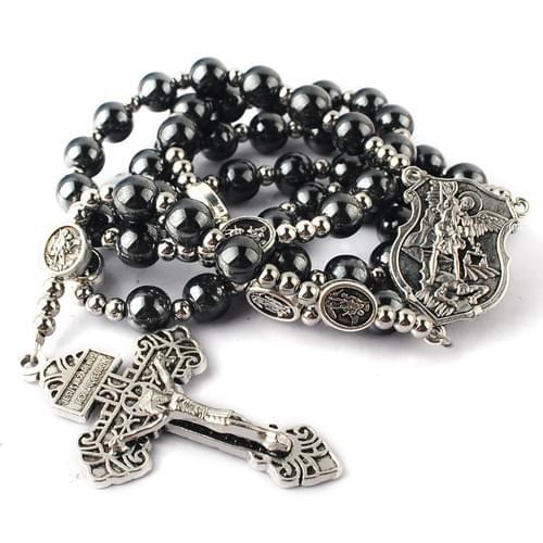 Saint Michael Hematite Rosary with 8 mm beads
