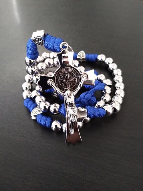 Stainless Steel Men's Heavyweight Silver/Blue Paracord Rosary