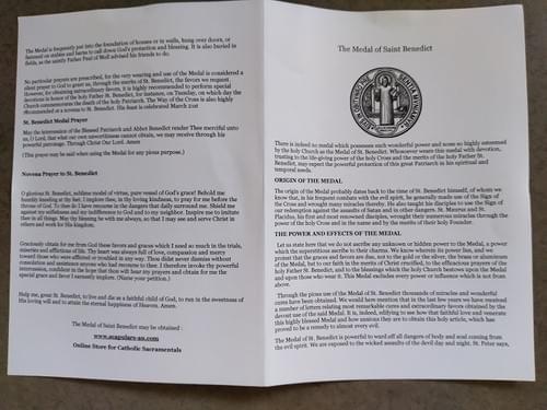 "Saint Benedict Medals 1"" on a 2mm Black Cord"