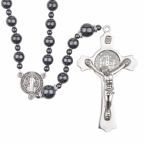 Quality Black Hematite Rosary with 8 mm beads  in a Gift Box