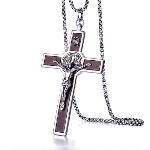 Saint Benedict Crucifix Pendant Necklaces 5'', with Stainless Steel Link Chain