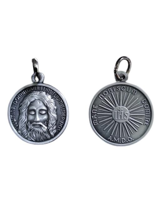 Stunning Holy Face of Jesus Medal, Antique Tin, 22mm