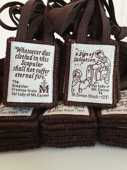 Sturdy Traditional Brown Scapular of Our Lady, Double Layer, Sewn Edges. (USA)