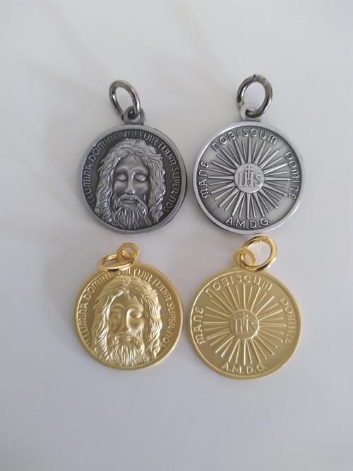 High Quality Holy Face of Jesus Medal, 22mm, Antique Tin or Matt Gold ( Zinc Alloy )