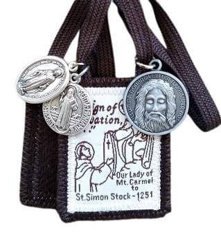 Sturdy Traditional Brown Scapular + 3 Medals