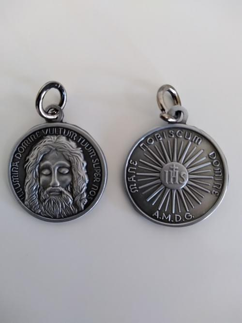 Holy Face of Jesus Medal, Antique Tin, 22mm