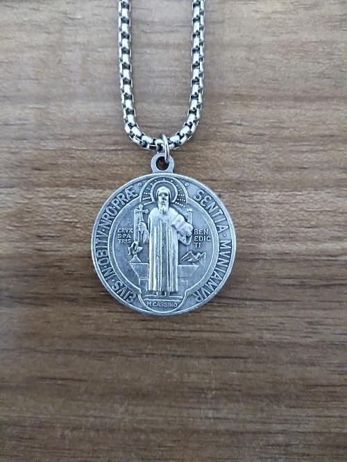 "Saint Benedict Medals 1"", on a stainless steel round box chain"