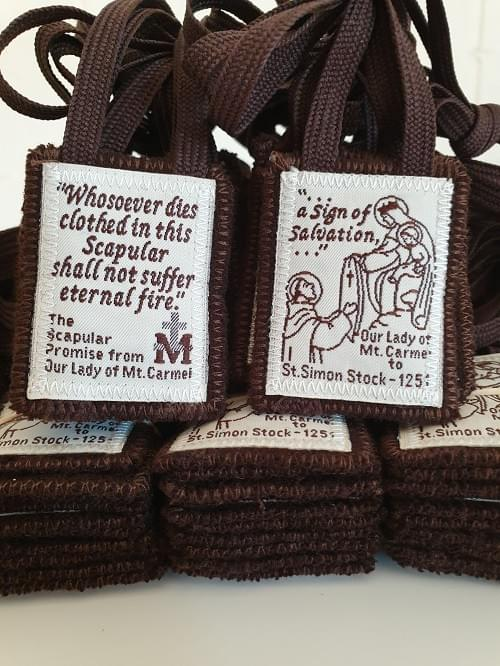 Sturdy Traditional Brown Scapular of Our Lady 100% Wool , Sewn edges.