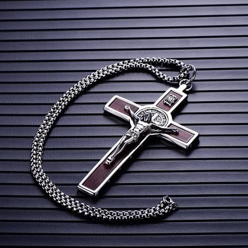 Saint Benedict Crucifix Pendant Necklaces 5'', Stainless Steel Link Chain
