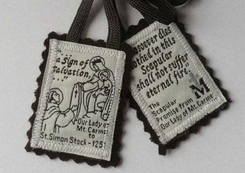 Traditional Brown Scapular of Our Lady of Mt Carmel 100% Wool