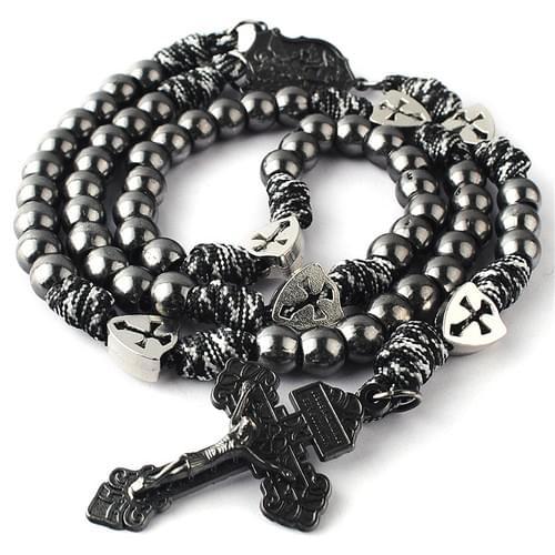Gun Black Paracord Rosary
