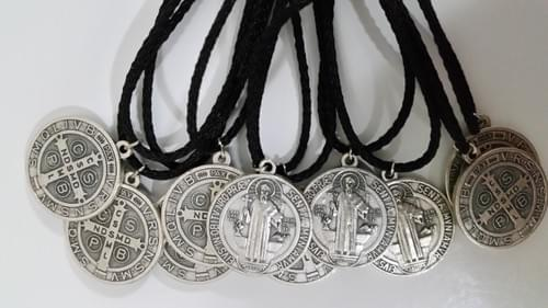 "Saint Benedict Medals 1"" on a 2mm Black Polyester Cord ( Italy )"