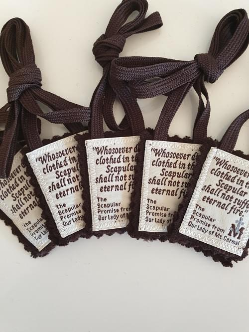 Pack of 5 or 10  Traditional Brown Scapulars of Our Lady of Mt Carmel