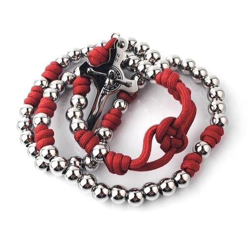 8mm Stainless Steel/Red Paracord Rosary