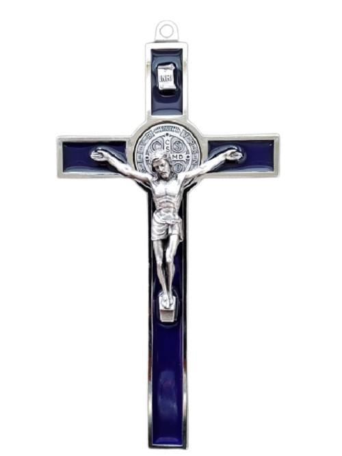 Blue Saint Benedict Crucifix, 18.5cm ( Italy )