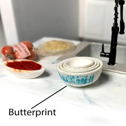 Pyrex Mixing Bowls; Various Patterns; 1:12