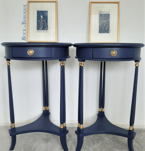 Two Pretty Round Occasional Sofa/Bedside Tables Lovingly Updated in Blue & Gold