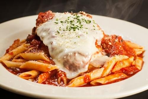 Chicken Parm with Rainbow Rolatini pasta