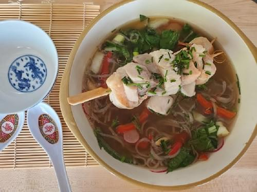 Asian inspired Drunken seafood Soba Noodles
