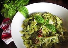 Bow tie Pasta with homemade Pesto, Fresh Mozzerella & Sun dried tomatoes