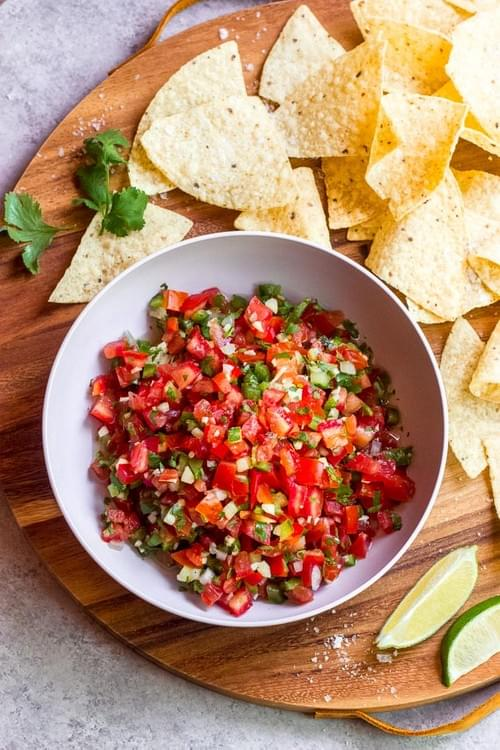 Homemade salsa & warm Tortilla Chips