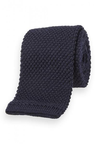 Textured knitted tie Navy