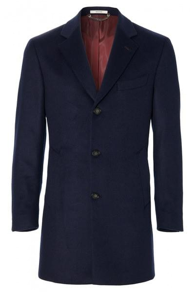 Plain Dimitros overcoat with cashmere Dark Blue