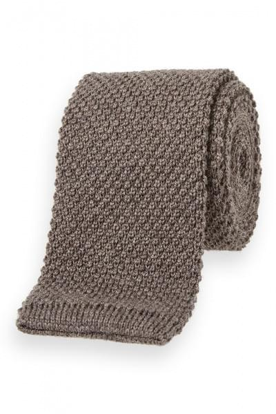 Van Gils Textured knitted tie Taupe