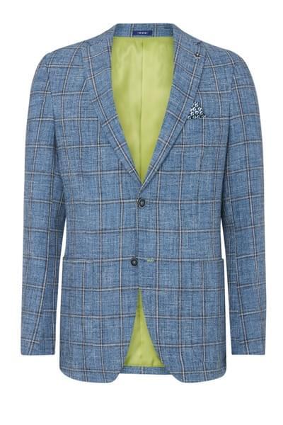 Elray checked jacket Blue